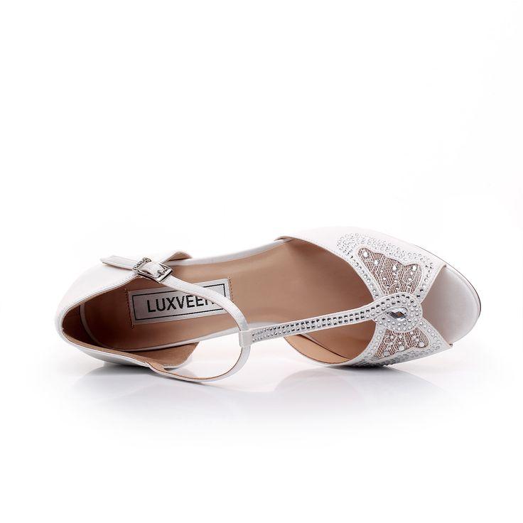 Satin Bridal Shoes Womens Sandals Strap Comfortable Silver Wedding Unique Design For Bride Peep Toe