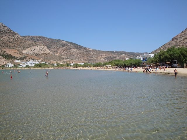 "Kamares beach, in the port of Kamares in Sifnos. There is/was a taverna here called ""The Old Captain,"" where my main character Nick Pappas is attracted to the barmaid Ippy."