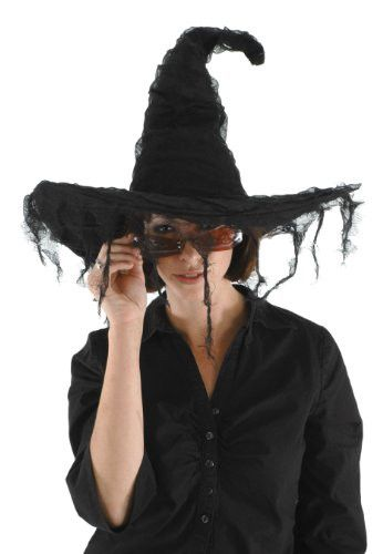 Grunge Witch Hat - Black, tattered gauze witch hat.