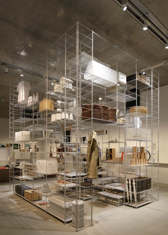 """…Tokyo architect Fumihiko Sano used Japanese design brand Muji's popular steel shelving system to create this room-like installation for an exhibition exploring standard units of measurement…"" Fumihiko Sano installation with MUJI shelving"