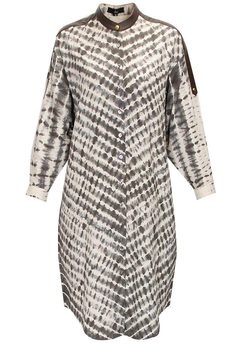 Grey shibori cotton shirt-dress by Ragini Ahuja : Pernia's Pop-Up Shop.