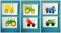More footprint art on canvas. A dump truck, tractors, a fire engine, Thomas train and racing car. #mine