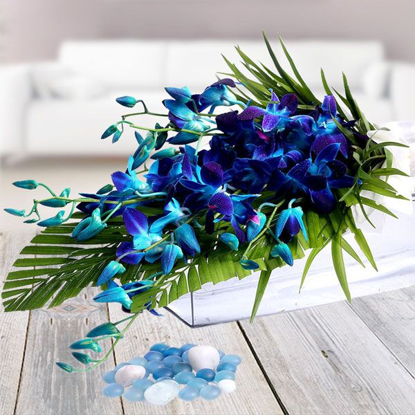 If You Are In Search Of Dazzling Blossoms To Give An Excellent Start To The Beginning Of Your Relatio Blue Orchid Bouquet Online Flower Delivery Orchid Bouquet