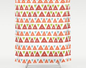 Check out Aztec Shower curtain, Southwestern Bathroom, Mountains Shower Curtain, Triangles Shower Curtain, Orange Shower, Mexican, Earthy, Tribal, dot on peppermintcreek