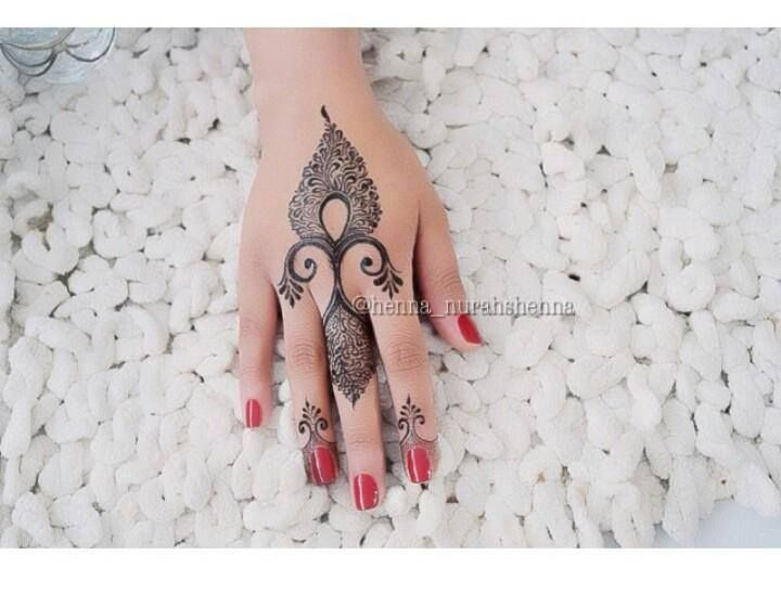 Finger Mehndi Art : New easy and quick green color glitter mehndi design for parties