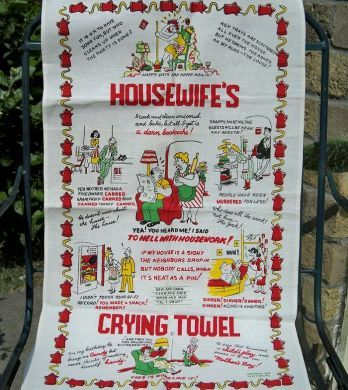 Vintage Housewifes Cartoon Crying Towel Mint