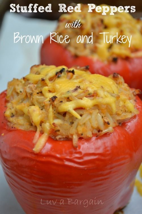 Stuffed Red Peppers with Brown Rice and Turkey. Scrumptious Clean Eating recipe!