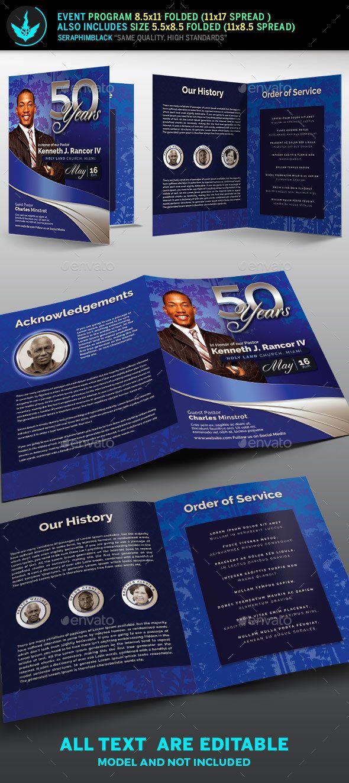 sapphire blue pastors anniversary church program template informational brochures
