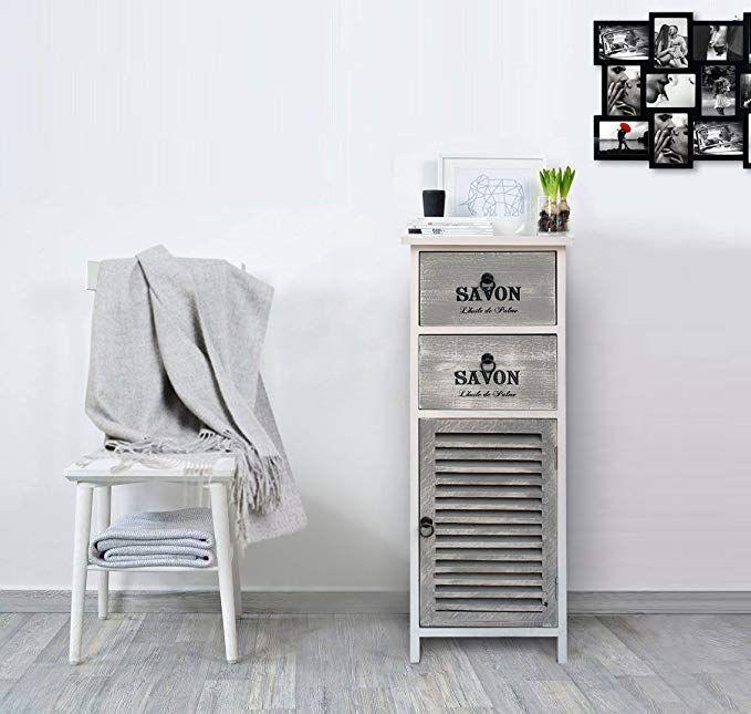 Mobili Rebecca Schrank Kommode Grau Weiß 1 Tür 2 Schubladen Holz Design Vintage Shabby Badezimmer Wohnzimmer – Wohnzimmer Ideen Landhaus Wandgestalt…