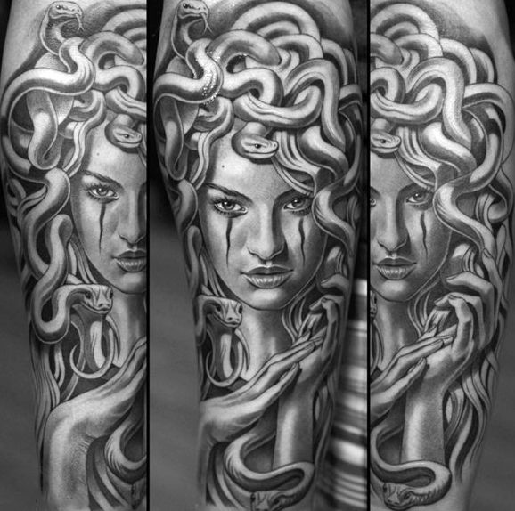 Incredibly Detailed Grey And Black Ink Male Medusa Tattoos