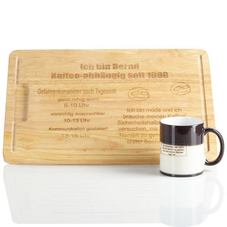 Das Geschenkset, bestehend aus Holzbrett und Tasse, für Kaffee-süchtige eignet sich auch als ein schönes Präsent für Kollegen oder auch den Vorgesetzten. Kaffeeliebhaber und alle die es werden wollen werden von dem Set begeistert sein.