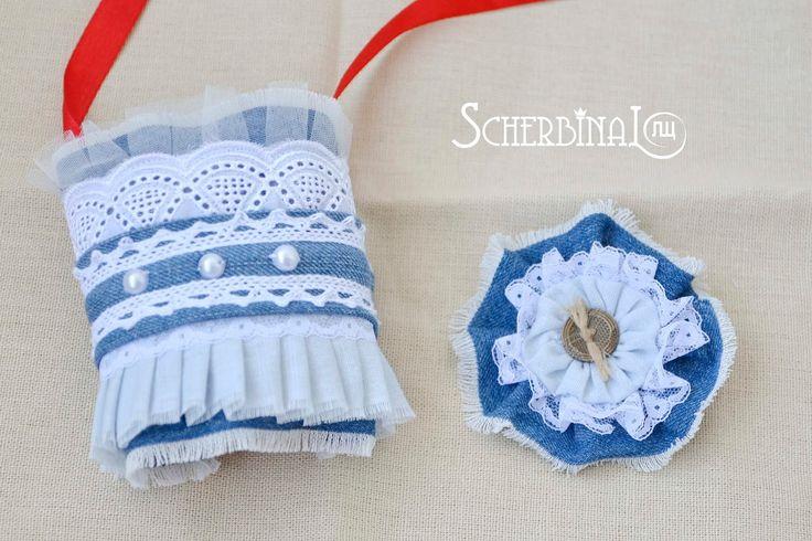 текстильная брошь, бохо стиль, джинсовый цветок, браслет на руку