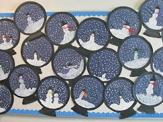 Winter and snowmen bulletin board craft idea: Snowman Globe