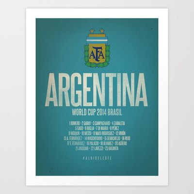 Argentina World Cup 2014 Celebrative Artwork Art Print by The Soccer Supply