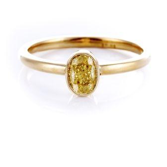 Yellow Diamond Oval Bezel set Ring in 18 ct Yellow Gold