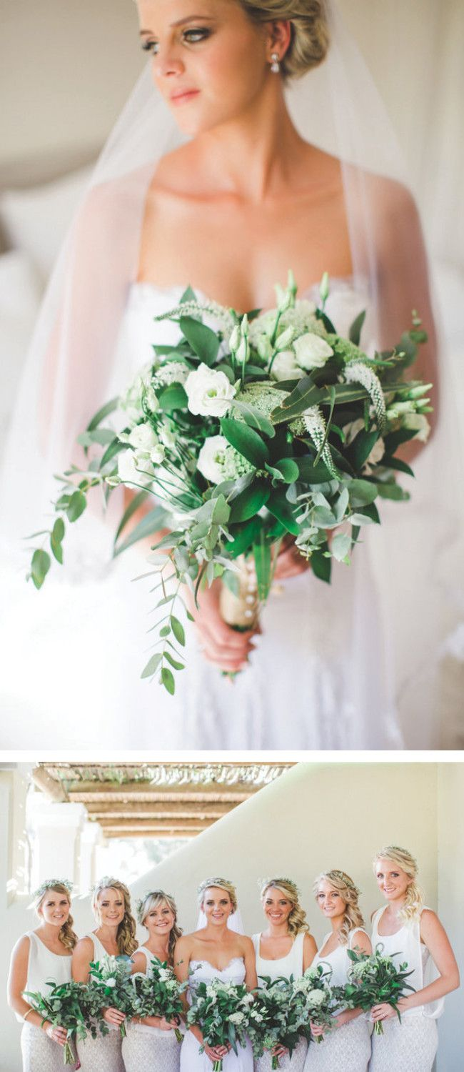 Breathtaking Wedding Bouquet: Gorgeous neutral all white bouquet with pops of green. Click to blog for more gorgeous bouquet ideas. http://www.confettidaydreams.com/breathtaking-wedding-bouquets/