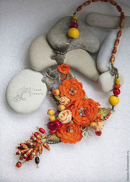 Колье Осенняя мелодия. Handmade.