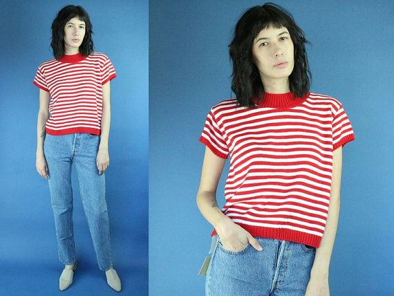 Red and White Striped Mockneck Knitted Short Sleeve Shirt Small Vintage White Red Stripes Knit Mock Neck Sweater Top Blouse Where is Waldo by DiveVintage from Passport Vintage. Find it now at http://ift.tt/2ghff7H!