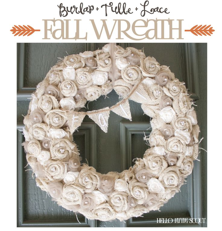 Hello Little Scout--Burlap Flowers Fall Wreath How To