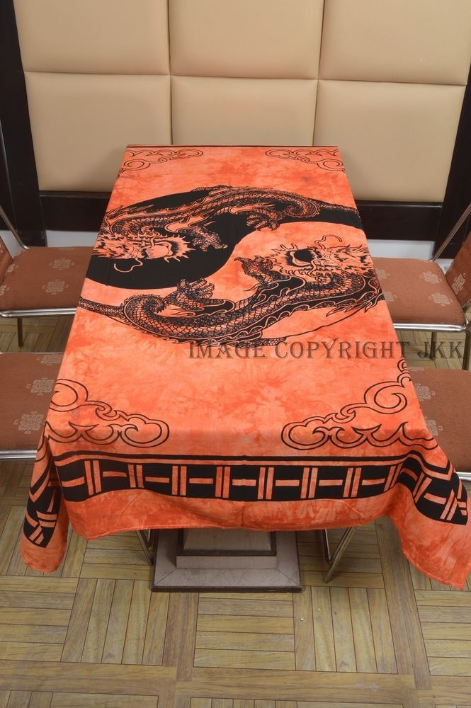 Black Orange Color Dragon Printed Indian Cotton Dinning Table Cloth Cover  IWUS
