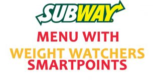Subway Menu 2017 With SmartPoints & PointsPlus