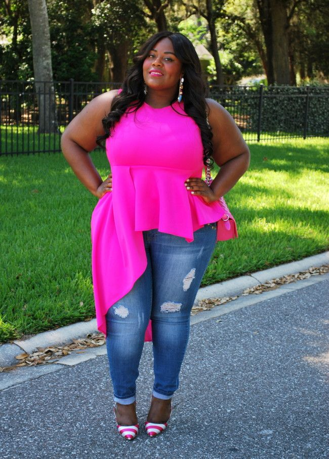 Musings of a Curvy Lady, Plus Size Fashion, Pink ClubWear, Distressed Denim, ShoeDazzle, Striped Heels, Pink Outfit, Casual Women's Outfit, Women's Fashion