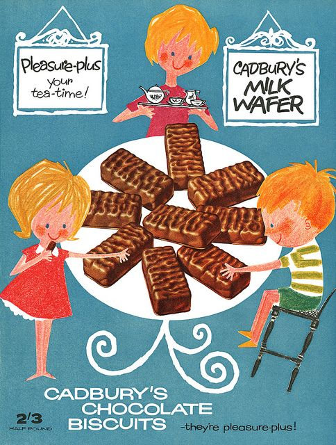 1950s Cadbury's Chocolate Biscuits advert - Pleasure-plus your tea-time!