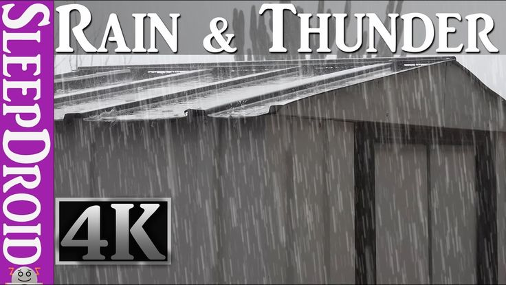 ►4k Video. 2 hours of Heavy Rain and Thunder on a metal roof storage she...
