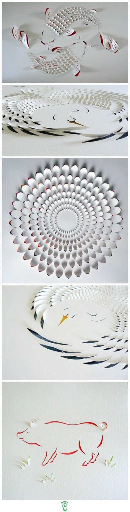 Not origami, but the cuts in the paper really add depth to the pictures.