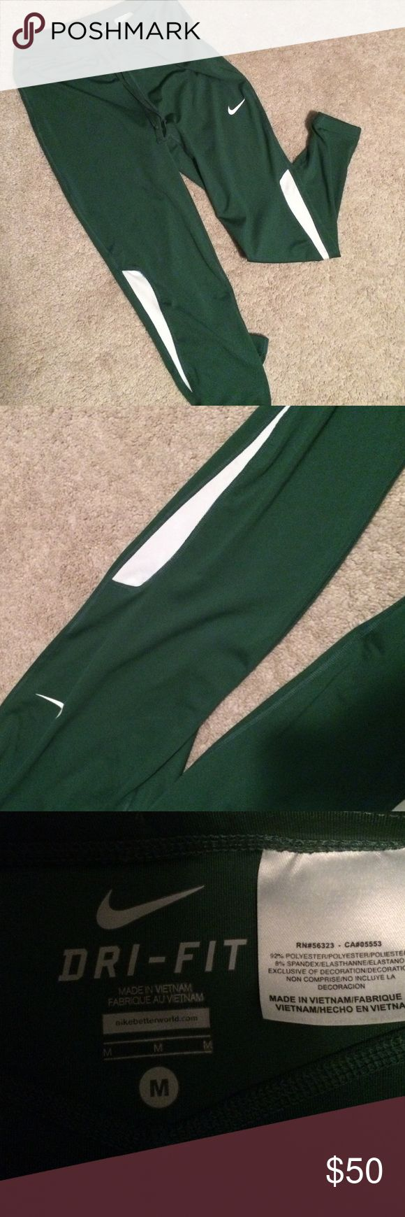 Bright Green Nike Leggings Bright green Nike jogging leggings! Slightly been worn, tight at the ankle and great for all types of workouts! Nike Pants Leggings
