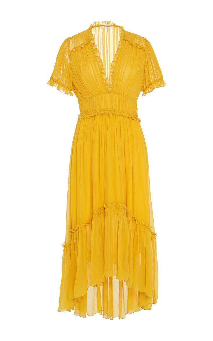 Yellow Chiffon Midi Dress by Ulla Johnson | Moda Operandi