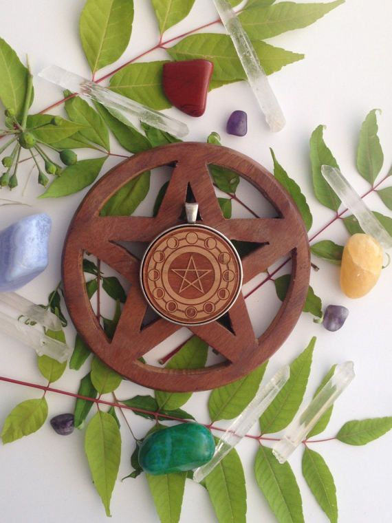 Moon Cycle with Pentagram Symbol  Laser by SpiralCutStudio on Etsy