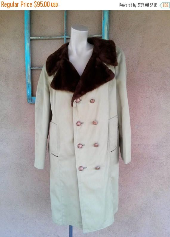 ON SALE Vintage 1960s Mens Coat All Weather Faux Fur Lined All Weather Trench Mens 42 #WinterCoat #MensFashion #AllWeatherCoat #Mens42 #MensCoat #overcoat #TrenchCoat #1960s #60sFashion #FauxFur