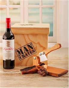 Gifts and Hampers - Man Crates: Biltong Cutter & Wine Man Crate!