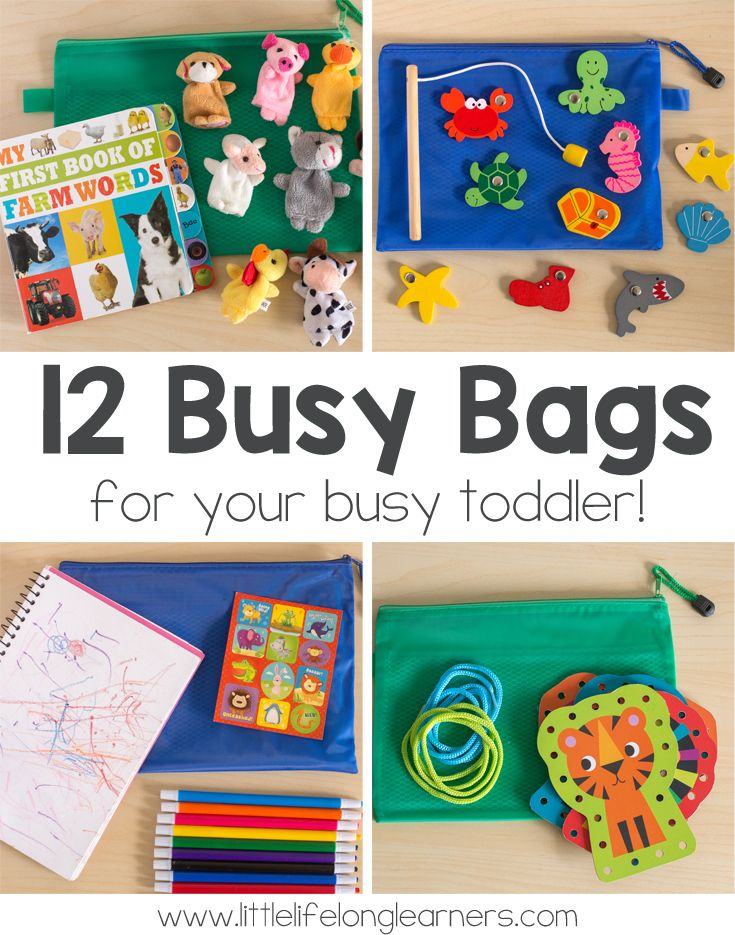 12 Simple Busy Bag ideas for toddlers | busy bags for 2 year olds to use at a restaurant | airplane travel ideas for kids | quiet time activities