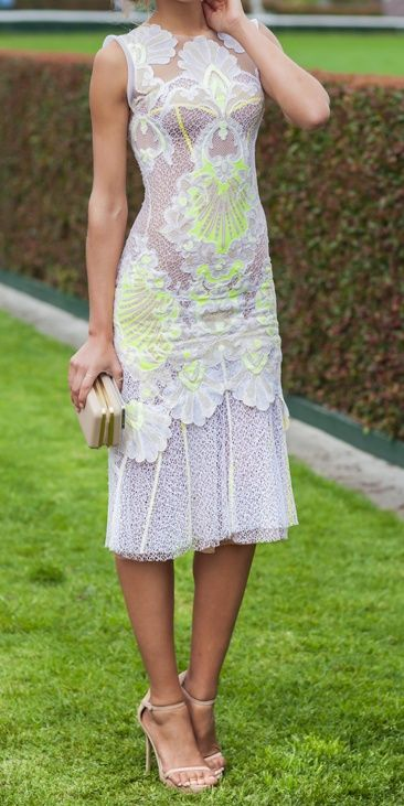 J'Aton Couture - love the feminine white but with a pop of neon
