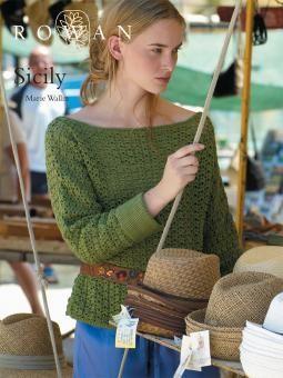 Sicily - free crochet slash-necked sweater pattern by Marie Wallin for Rowan. Free registration required.