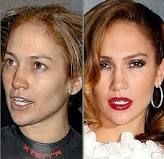 Jennifer Lopez with and without make up