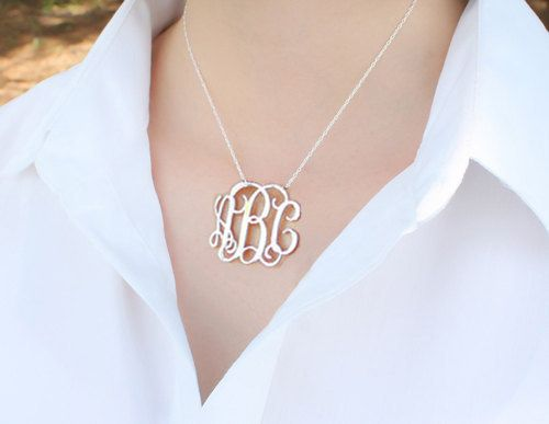 Silver monogram necklace,Initial Necklace,Personalized monogram necklace,Personalized Gifts,Chain Lenght 14 inch-22 inch,100%handmade