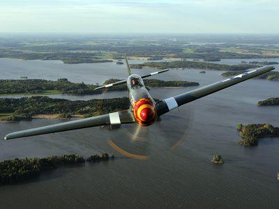A North American P-51 Mustang in Flight Over Vasteras, Sweden