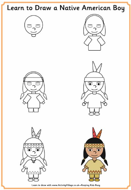 Learn to Draw a Native American Boy - Thanksgiving Printables
