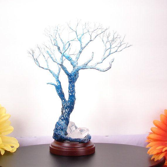 Árbol que del claro de luna, alambre escultura del árbol de la vida, tamaño de gabinete, base, azul noche, blanco, hecho a mano exclusivo regalo de madera, inspirada en la naturaleza