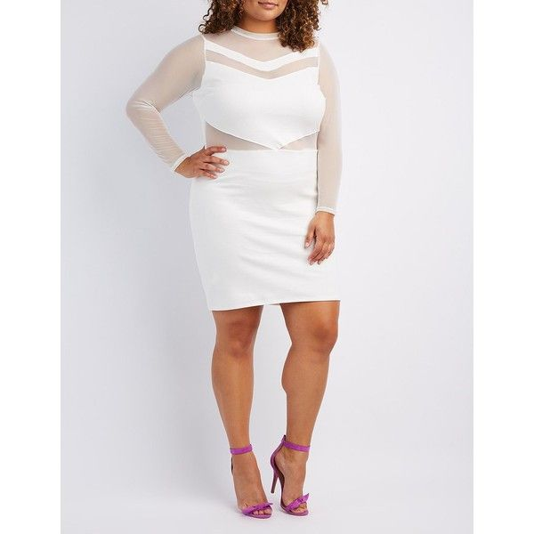 Charlotte Russe Mesh-Trim Bodycon Dress ($23) ❤ liked on Polyvore featuring plus size women's fashion, plus size clothing, plus size dresses, white, long sleeve bodycon dress, long sleeve embellished dress, white body con dress, body con dresses and embellished bodycon dress