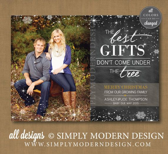 Christmas Card Pregnancy Announcement The Best Gifts Don T Come Under Tree New Baby Cc1 Printable Or Printed Cards Kids