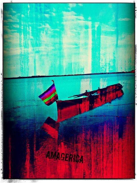 Rowing boat and Pride flag on Amager Beach