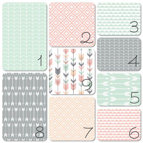 Nursery Bedding Set Pink Grey Peach Mint Arrows by 3LollipopGirls