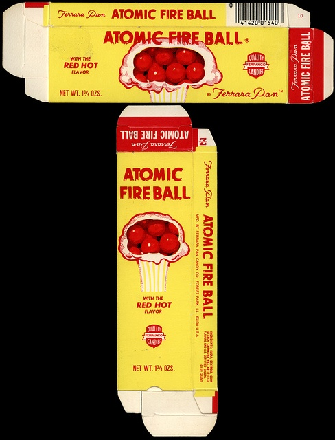 Ferrara Pan - Atomic Fire Ball - 1 3/4 oz candy box - late 1970s early 1980s