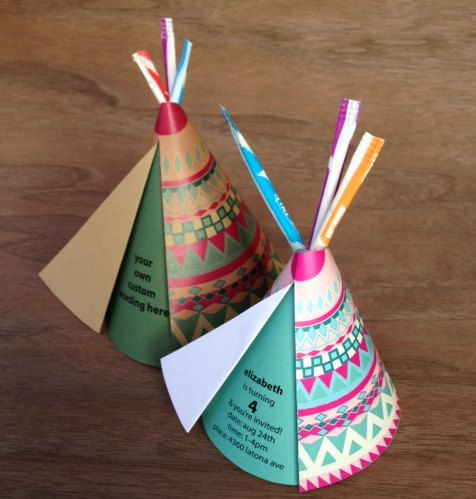 1 Teepee Card w/ Custom Wording (pixie sticks and mailing envelope included) via Etsy