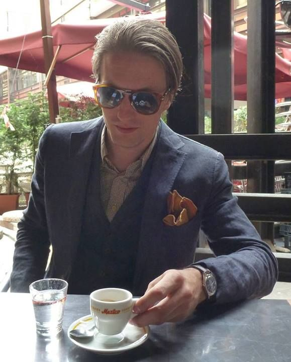 On my way to Pitti Uomo 86, in Bologna having an espresso.