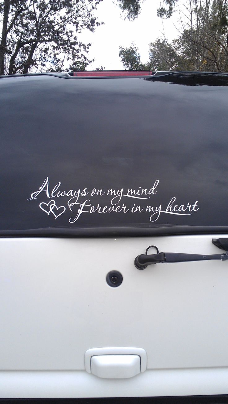 Rear window decal in memory of a lost loved one